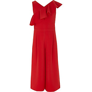 Girls red cropped leg frill jumpsuit