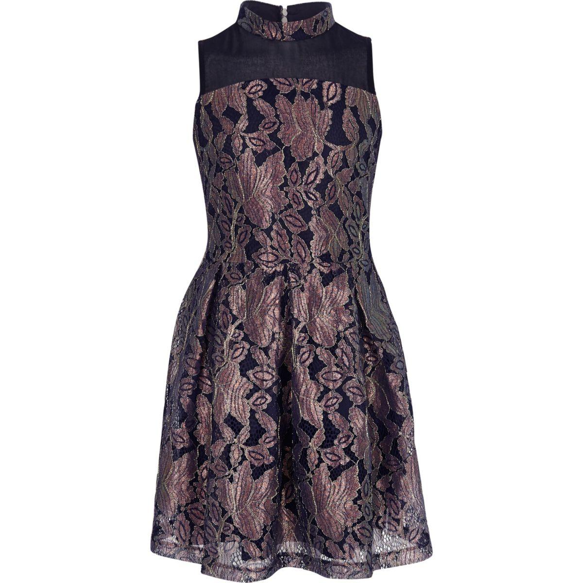 Girls navy metallic lace prom dress
