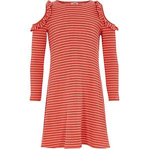 Robe rayée rouge côtelée à épaules dénudées pour fille
