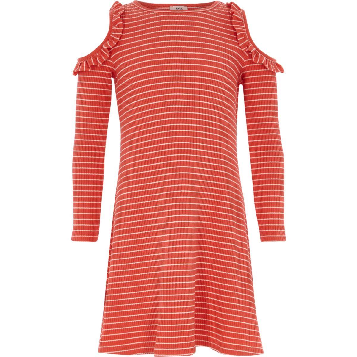 Girls red stripe ribbed cold shoulder dress
