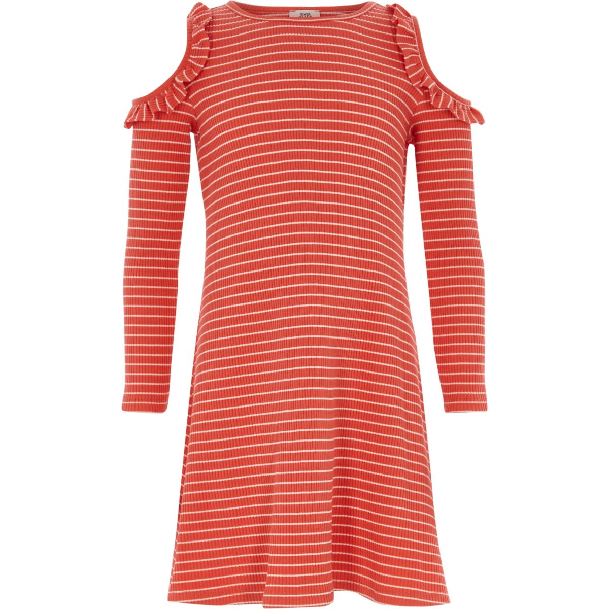 Girls red stripe ribbed cold shoulder dress