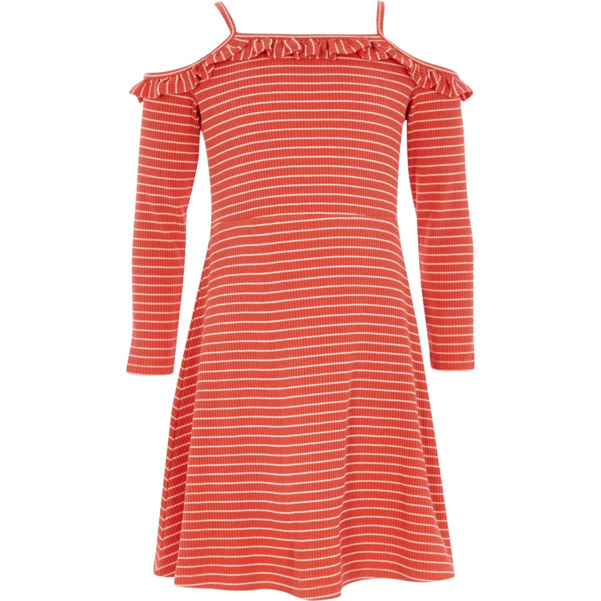 Girls red stripe frill bardot jersey dress