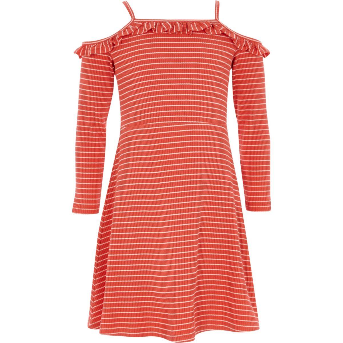 Girls red stripe frill bardot jersey dress