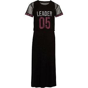 Girls black mesh overlay print maxi dress