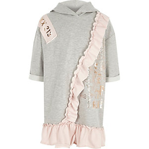 Girls grey metallic print frill hoodie dress