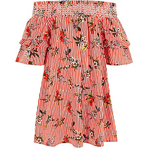 Girls red stripe floral shirred bardot dress