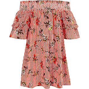 Robe Bardot rayée rouge à fleurs et fronces pour fille