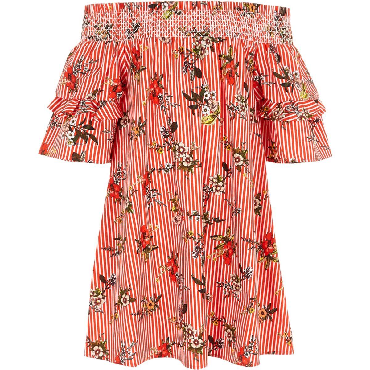 Girls red stripe floral shirred bardot dress