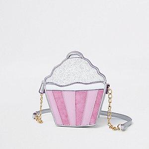 Zilverkleurige crossbodytas met cupcake voor meisjes