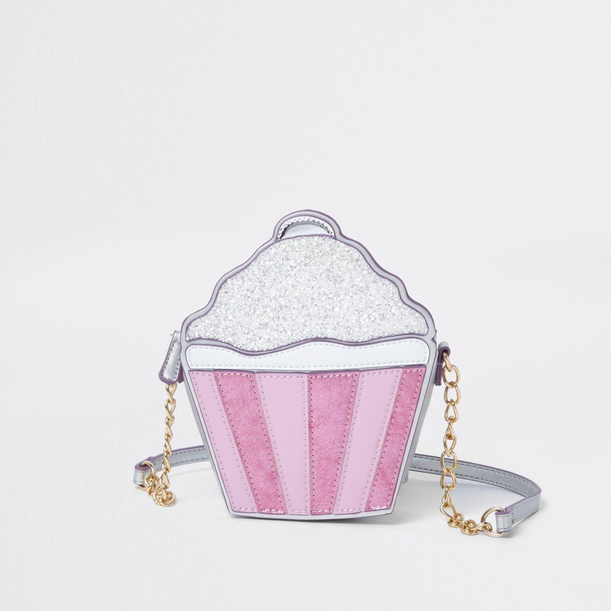 Girls silver glitter cupcake cross body bag