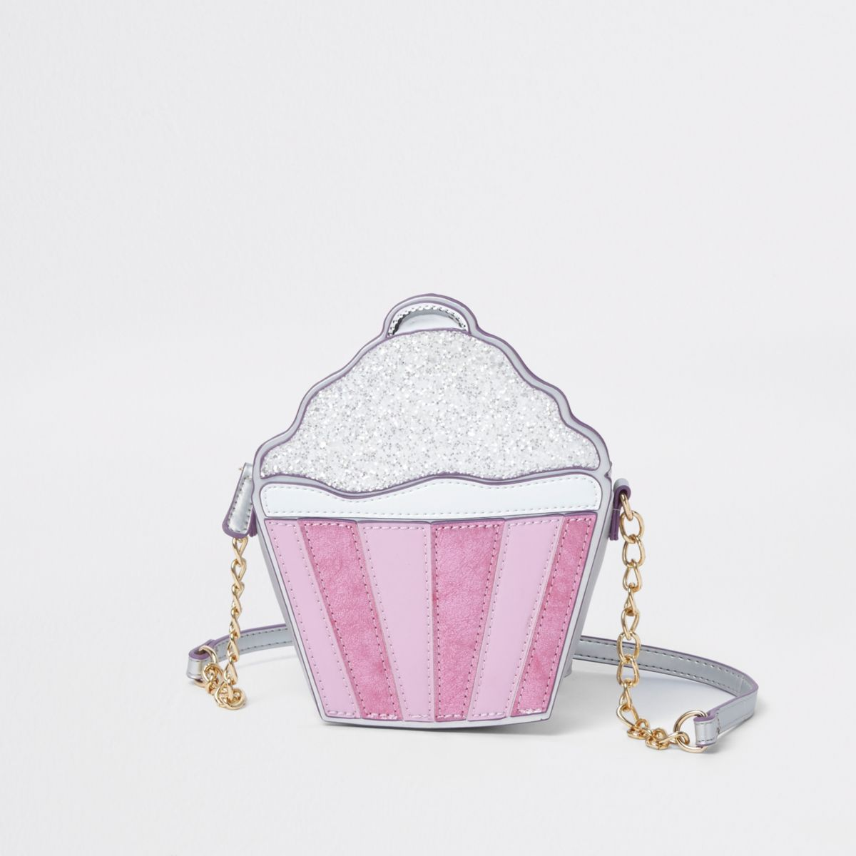 Girls silver glitter cupcake cross body bag