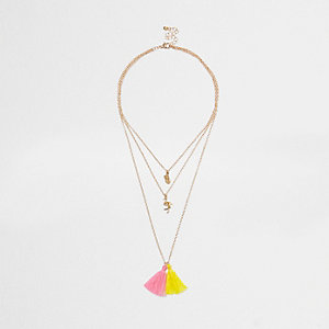 Girls gold tone layer charm tassel necklace