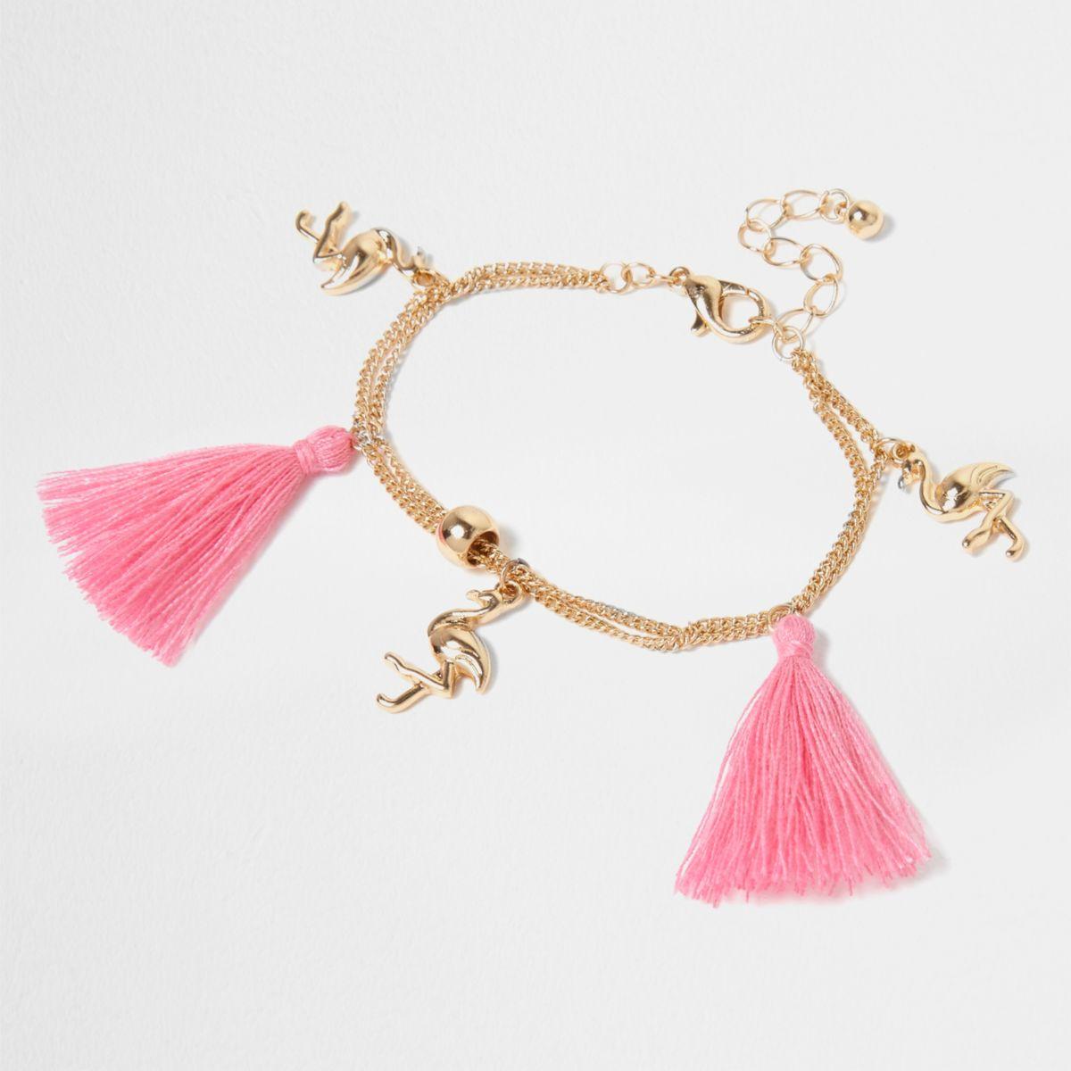 Girls gold tone pink tassel charm bracelet - Jewellery - Accessories ...
