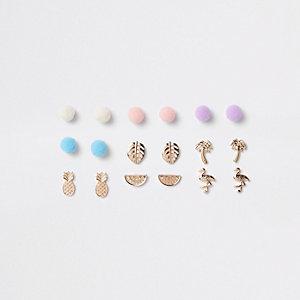 Girls gold tone pom pom earrings pack