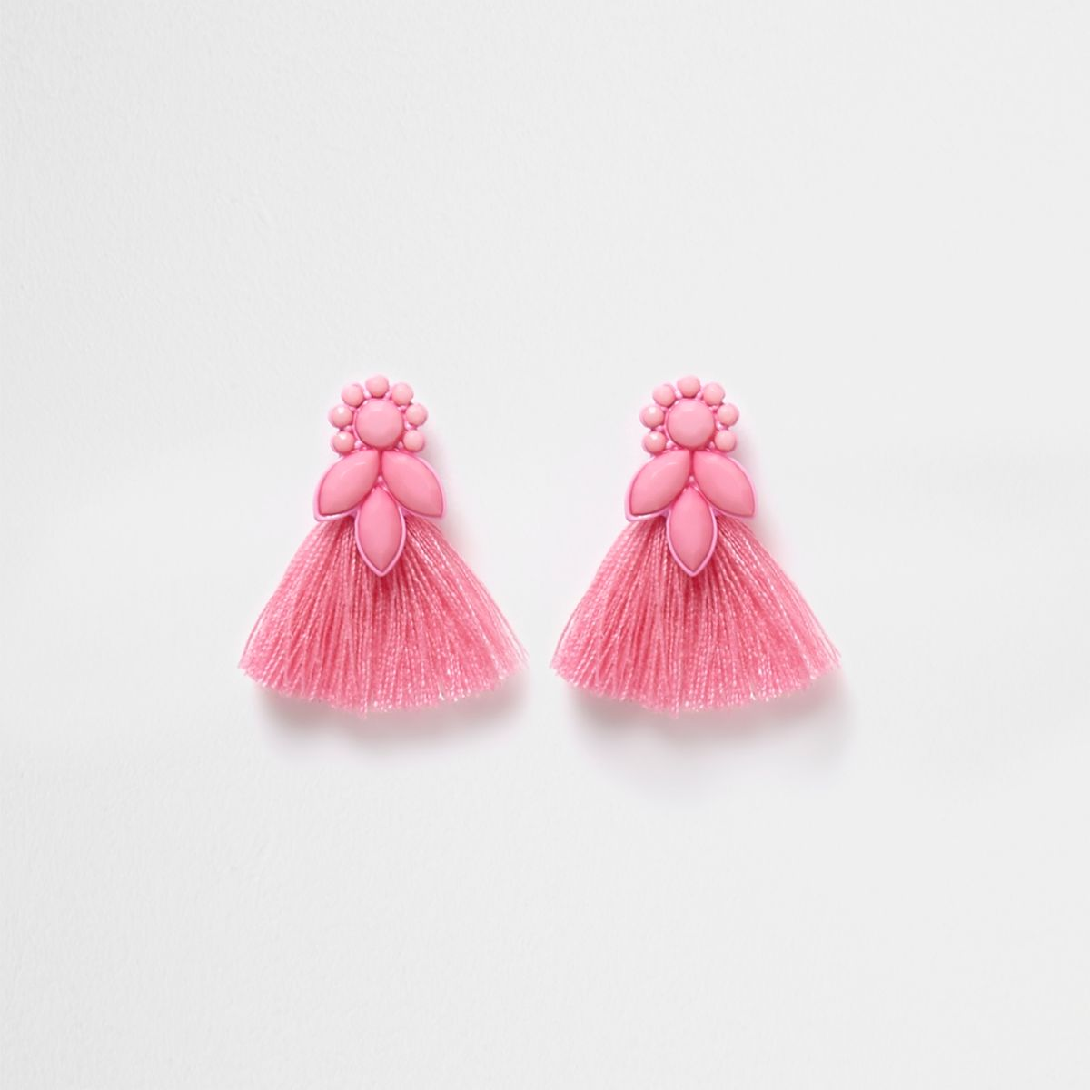 Girls pink jewel tassel drop earrings