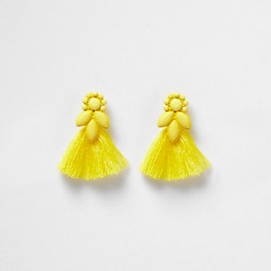 Girls yellow jewel tassel drop earrings