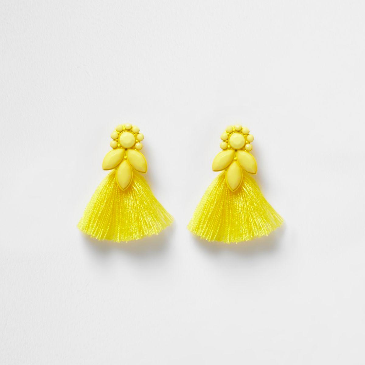 Girls yellow jewel tassel drop earrings