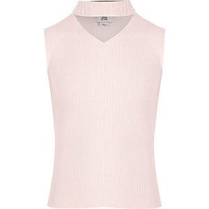 Roze gebreide chokertop met ribbels en versiering voor meisjes
