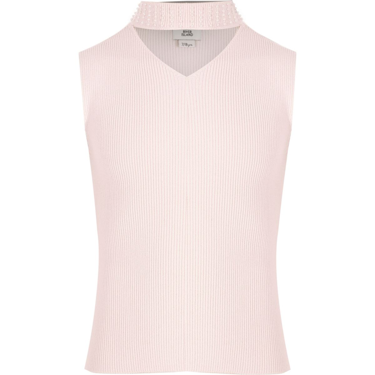 Girls pink rib knit embellished choker top