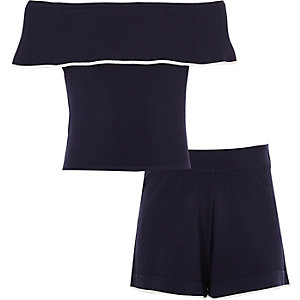 Girls navy bardot top and shorts outfit