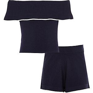 Outfit met marineblauwe bardot top en short voor meisjes