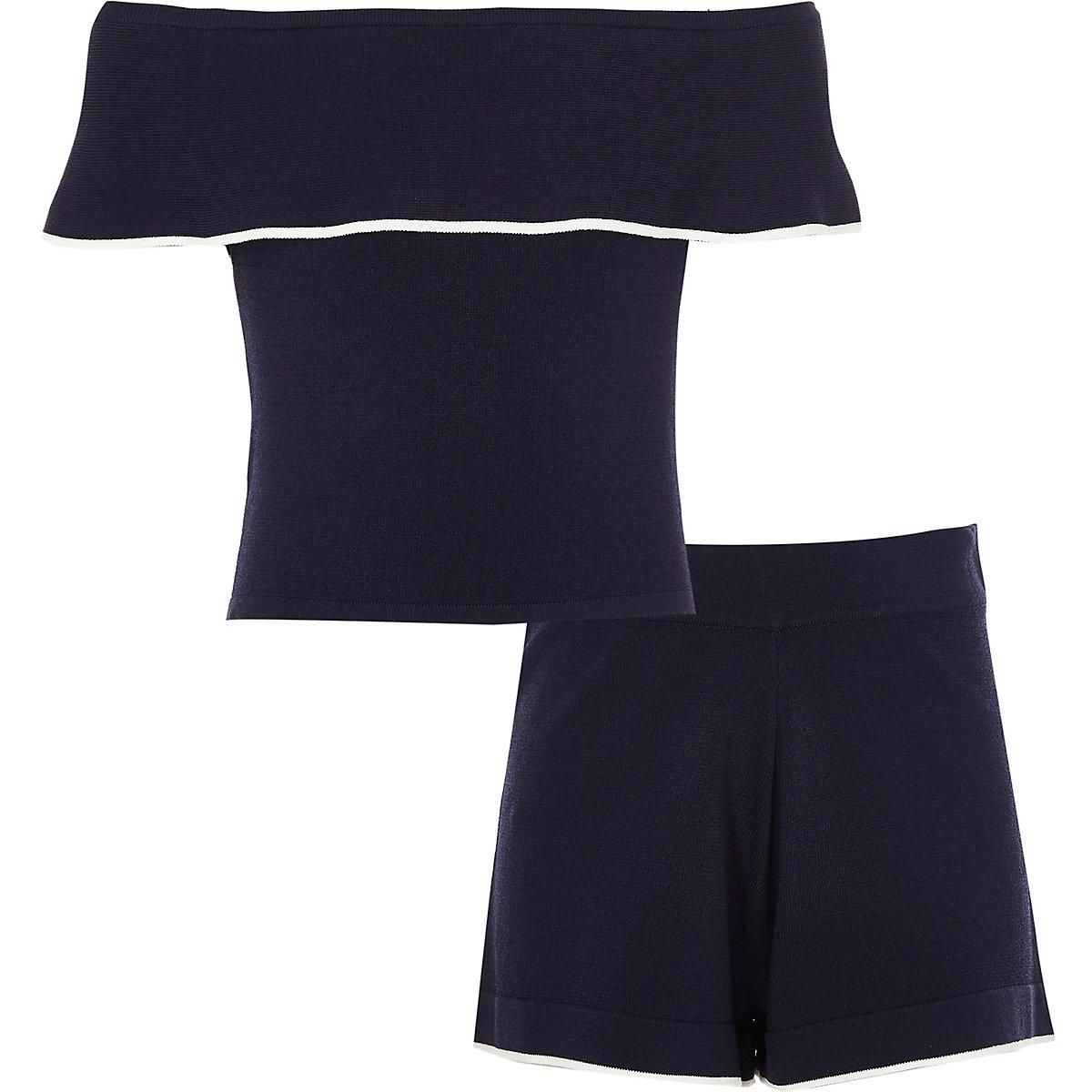 Girls navy bardot top and shorts outfit