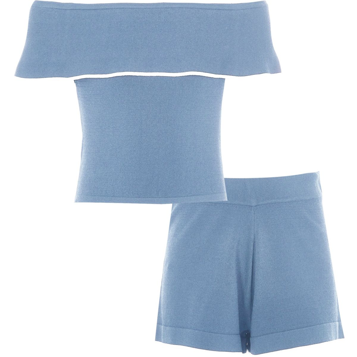 Girls blue frill bardot top and shorts outfit