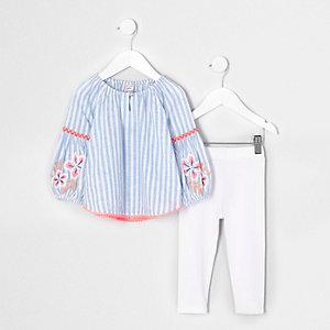 Mini - Outfit met blauwe gestreepte top met borduursel voor meisjes
