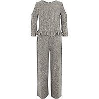 Girls marl grey cold shoulder frill jumpsuit
