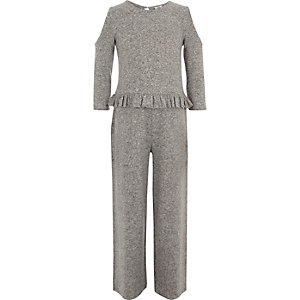 Girls marl grey cold shoulder frill jumpsuit