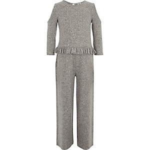 Combinaison gris chiné à épaules dénudées pour fille