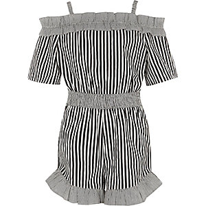 Girls black stripe frill bardot romper