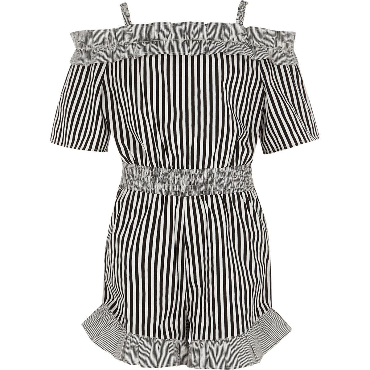 Girls black stripe frill bardot playsuit