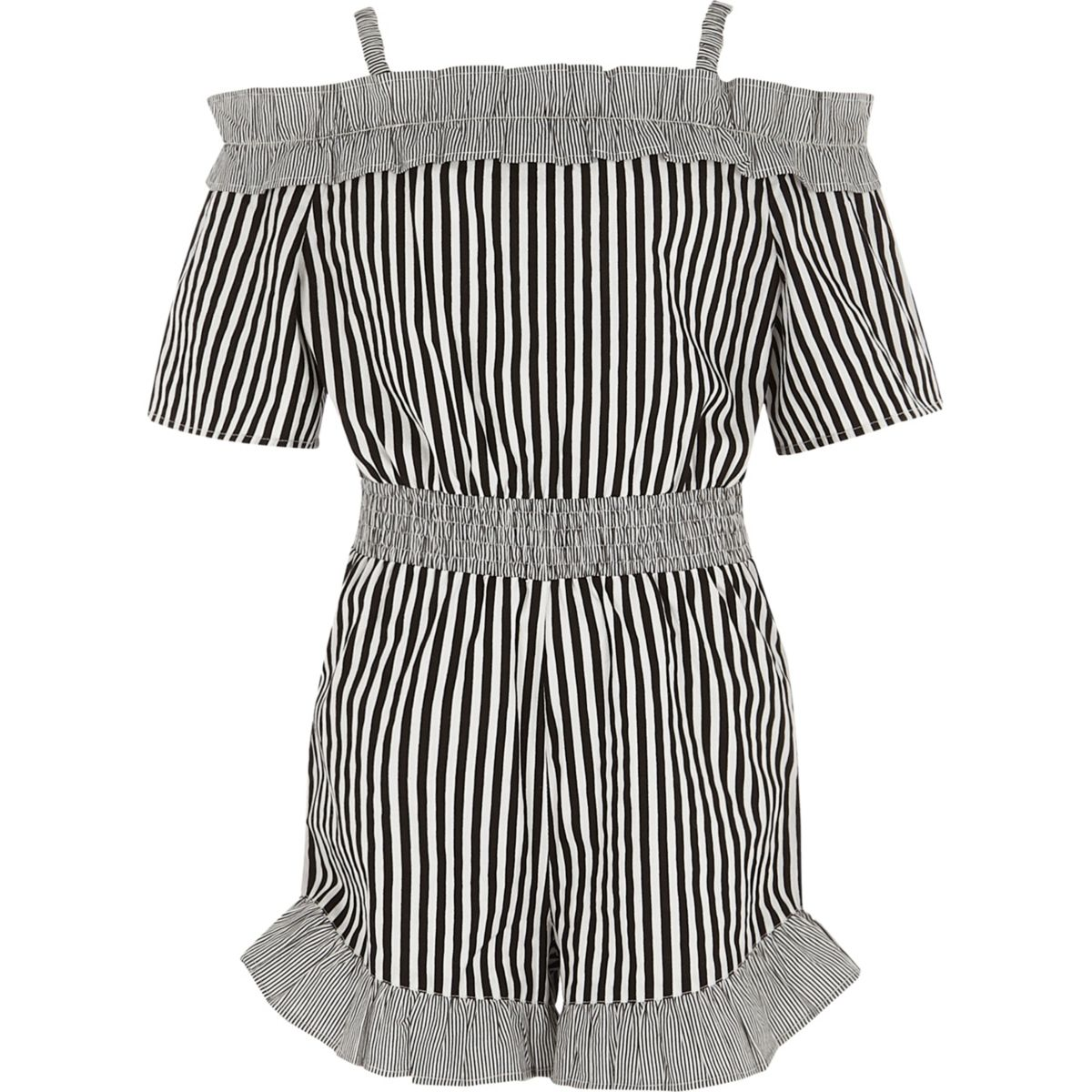 Girls black stripe frill bardot romper