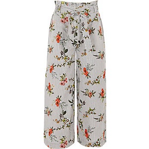 Girls black stripe floral wide leg pants