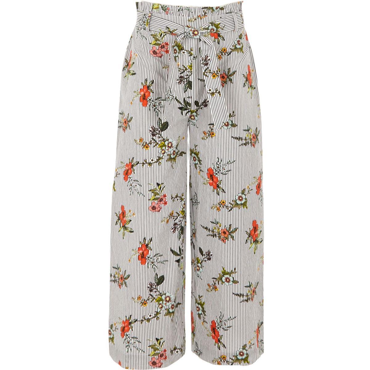 Girls black stripe floral wide leg pants