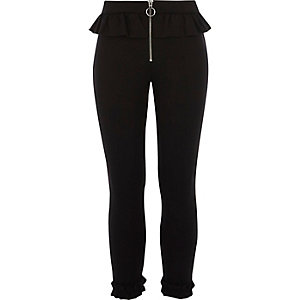 Girls black frill zip cigarette pants