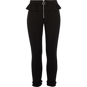 Zwarte broek met rechte pijpen, ruches en rits voor meisjes