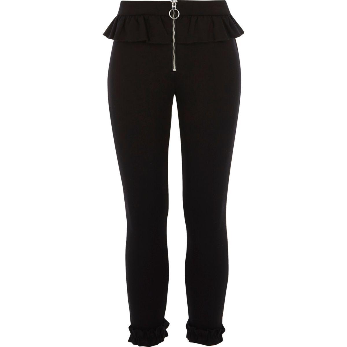 Girls black frill zip cigarette trousers