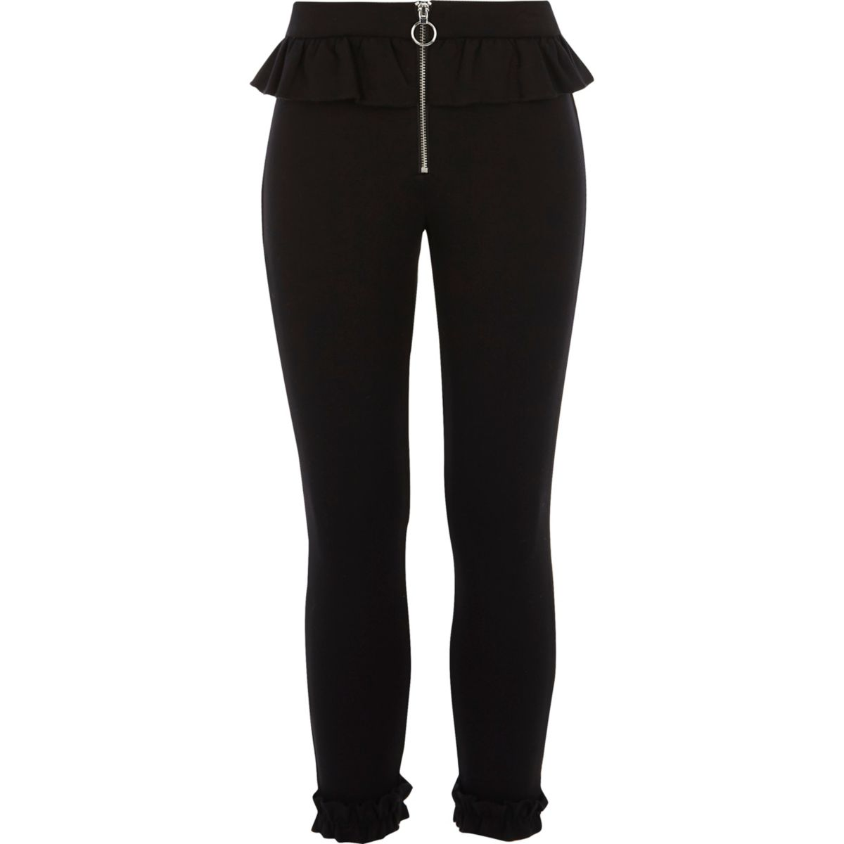 Girls black frill zip cigarette pants