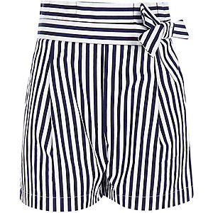 Girls navy stripe paperbag waist shorts