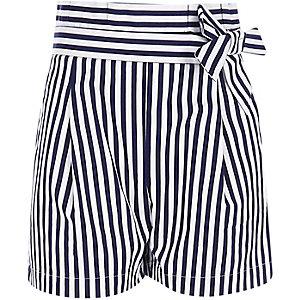 Marineblauwe gestreepte short met geplooide taille voor meisjes
