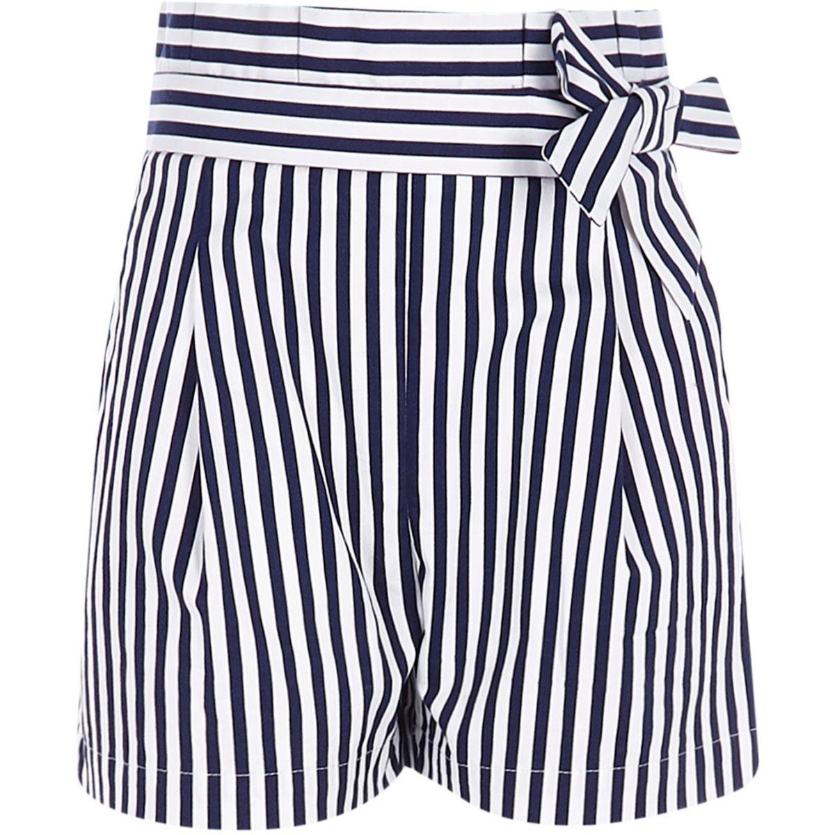 Girls navy stripe paperbag waist shorts
