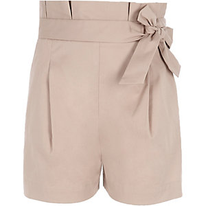 Girls beige paper bag waist shorts