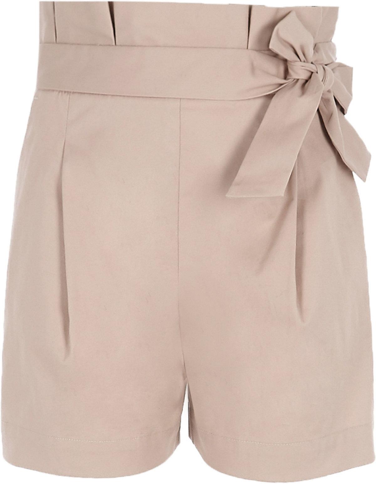 Girls beige paper bag waist shorts