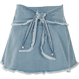 Girls blue frayed tie front denim skort
