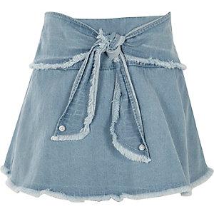 Blauwe gerafelde denim skort met strik voor voor meisjes