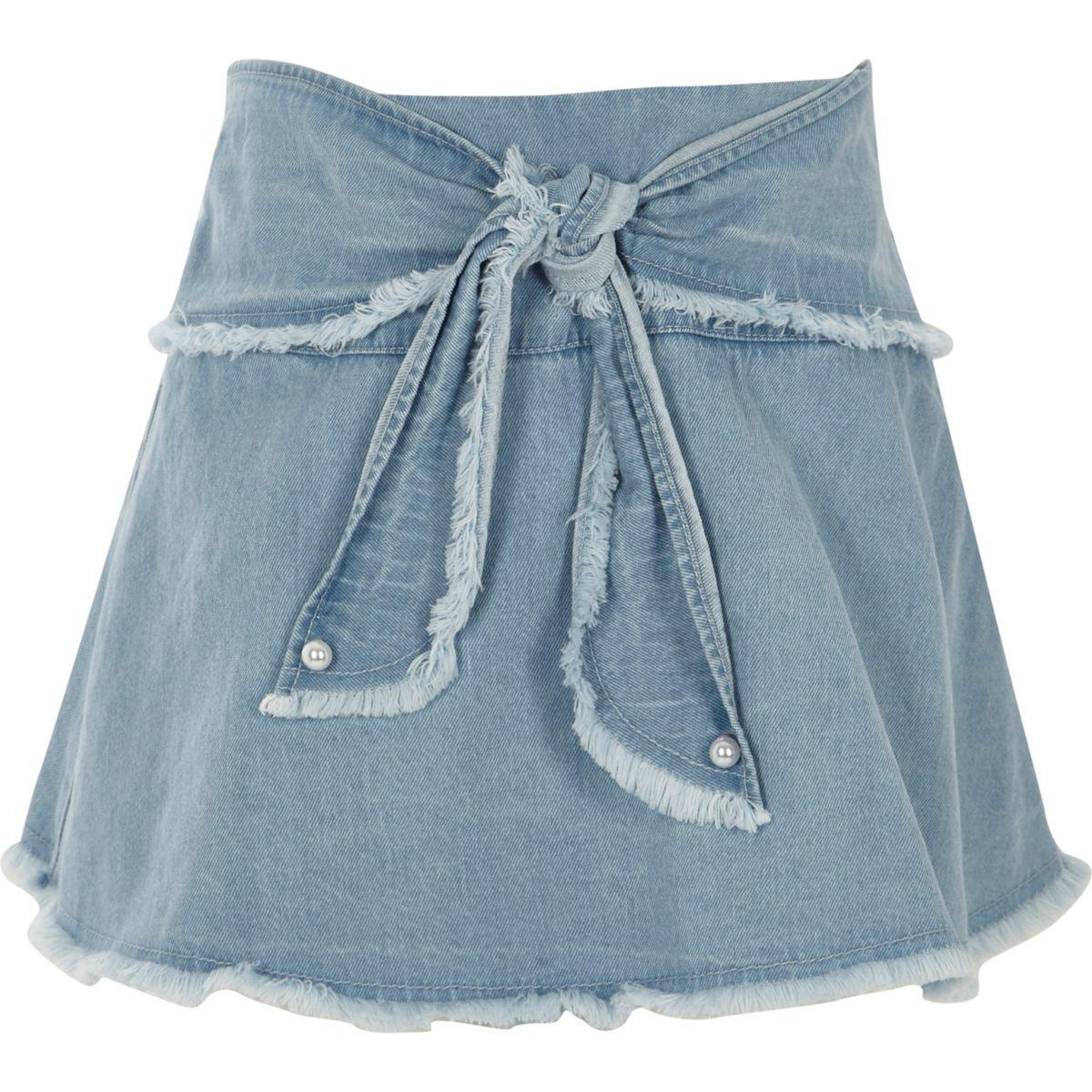 Girls blue frayed tie front denim skort