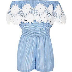 Girls blue stripe lace bardot playsuit