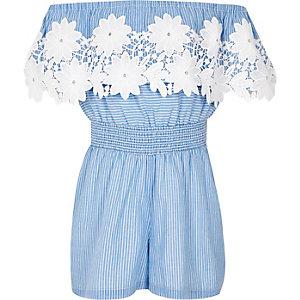 Combi-short Bardot rayé bleu avec dentelle pour fille